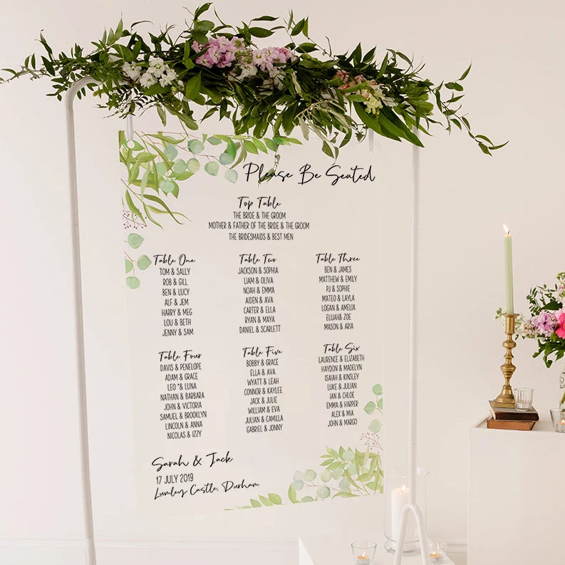 Foliage Wedding Seating Plan In Clear Acrylic - Funky Laser