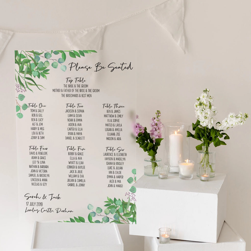 Foliage Wedding Seating Plan In Frosted Acrylic - Funky Laser