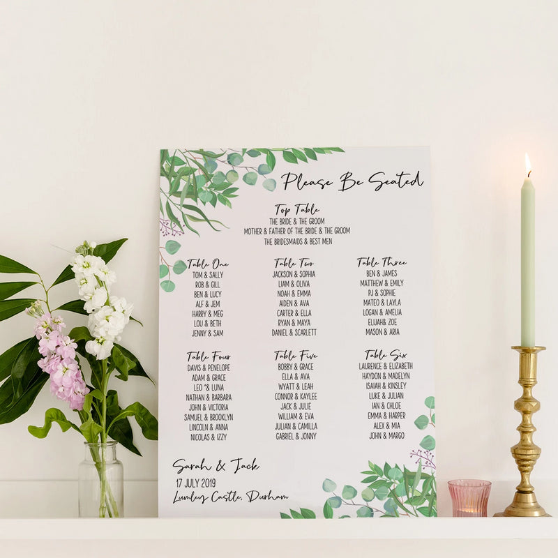 Foliage Wedding Seating Plan In Luxury Mount Board - Funky Laser