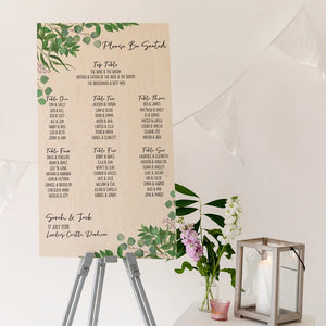 Foliage Wedding Seating Plan In Wood - Funky Laser
