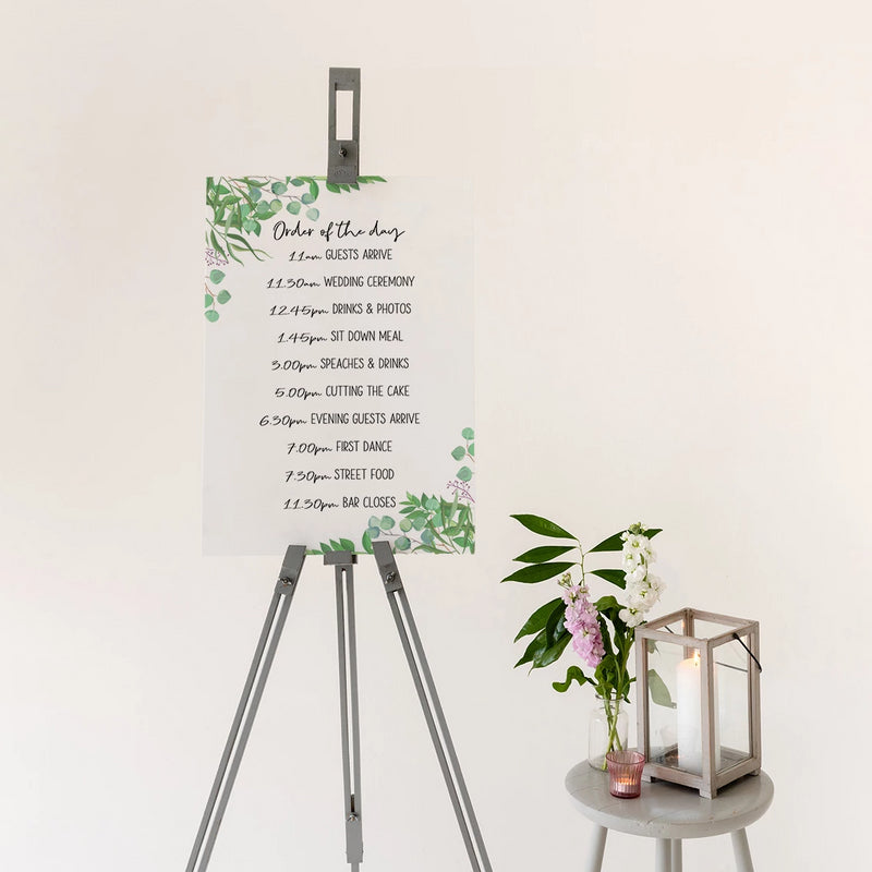 Foliage Order Of The Day Wedding Sign In White Acrylic - Funky Laser