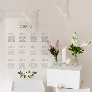 Floral Wedding Seating Plan In Frosted Acrylic - Funky Laser