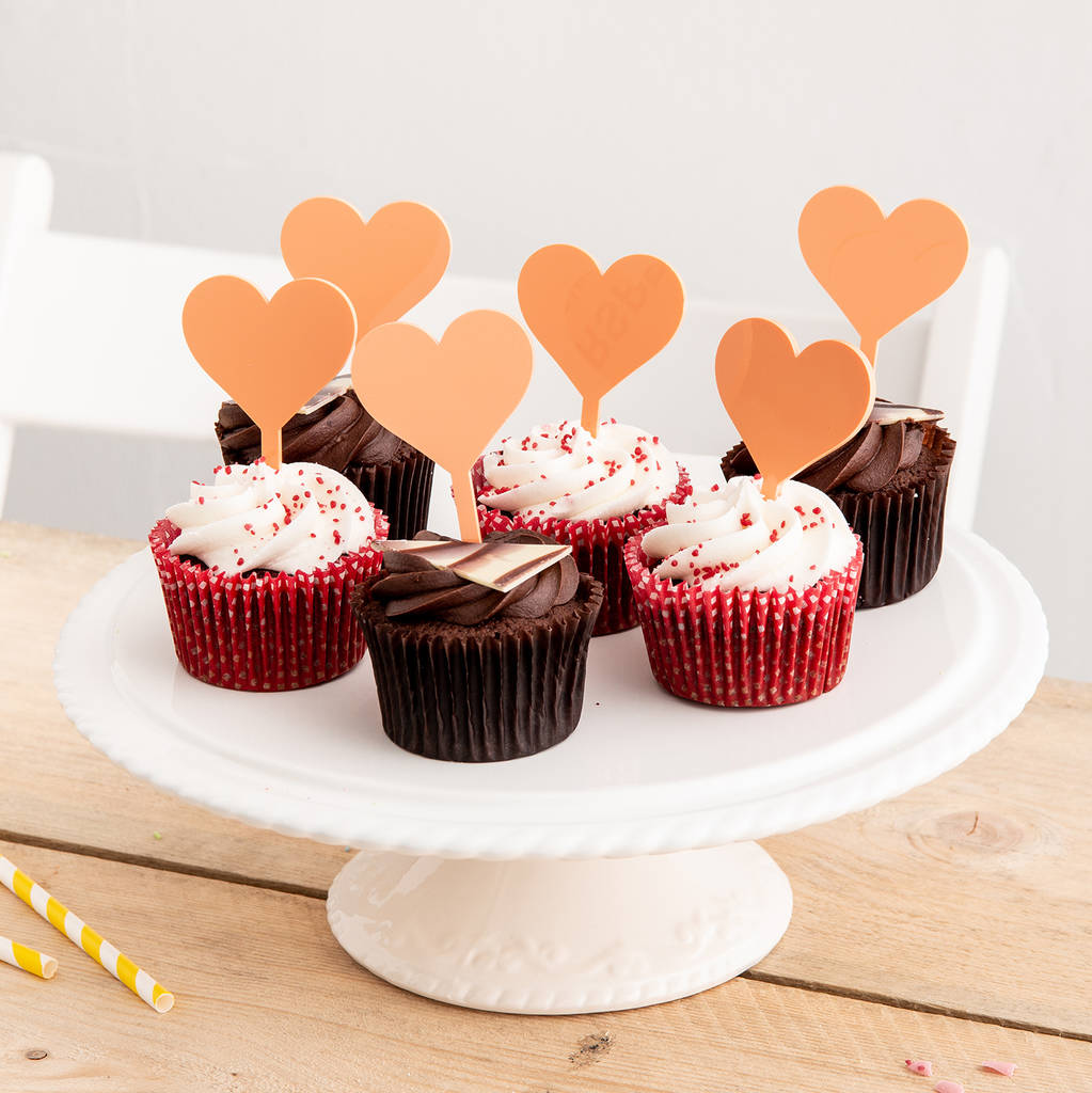 Set of Six Love Heart Cupcake Decorations - Funky Laser