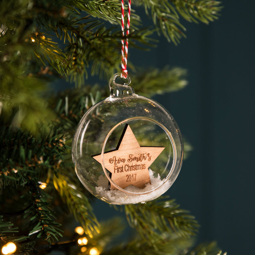 Personalised Wooden Star Glass Bauble - Funky Laser