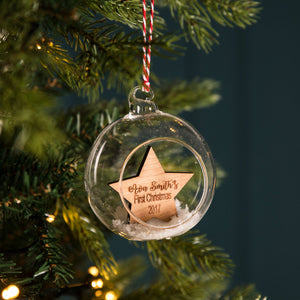 Personalised Wooden Star Glass Bauble