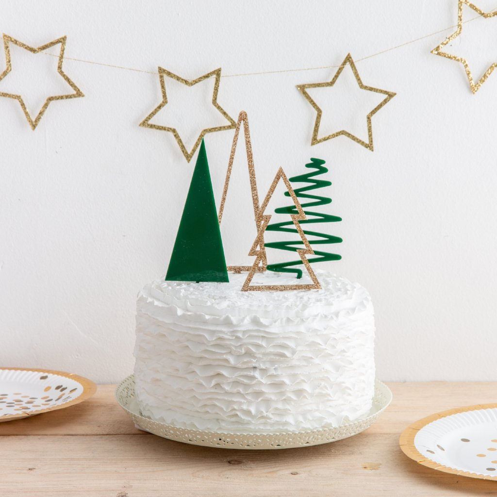 Christmas Cake Toppers.Christmas Tree Cake Topper Party Gift Set