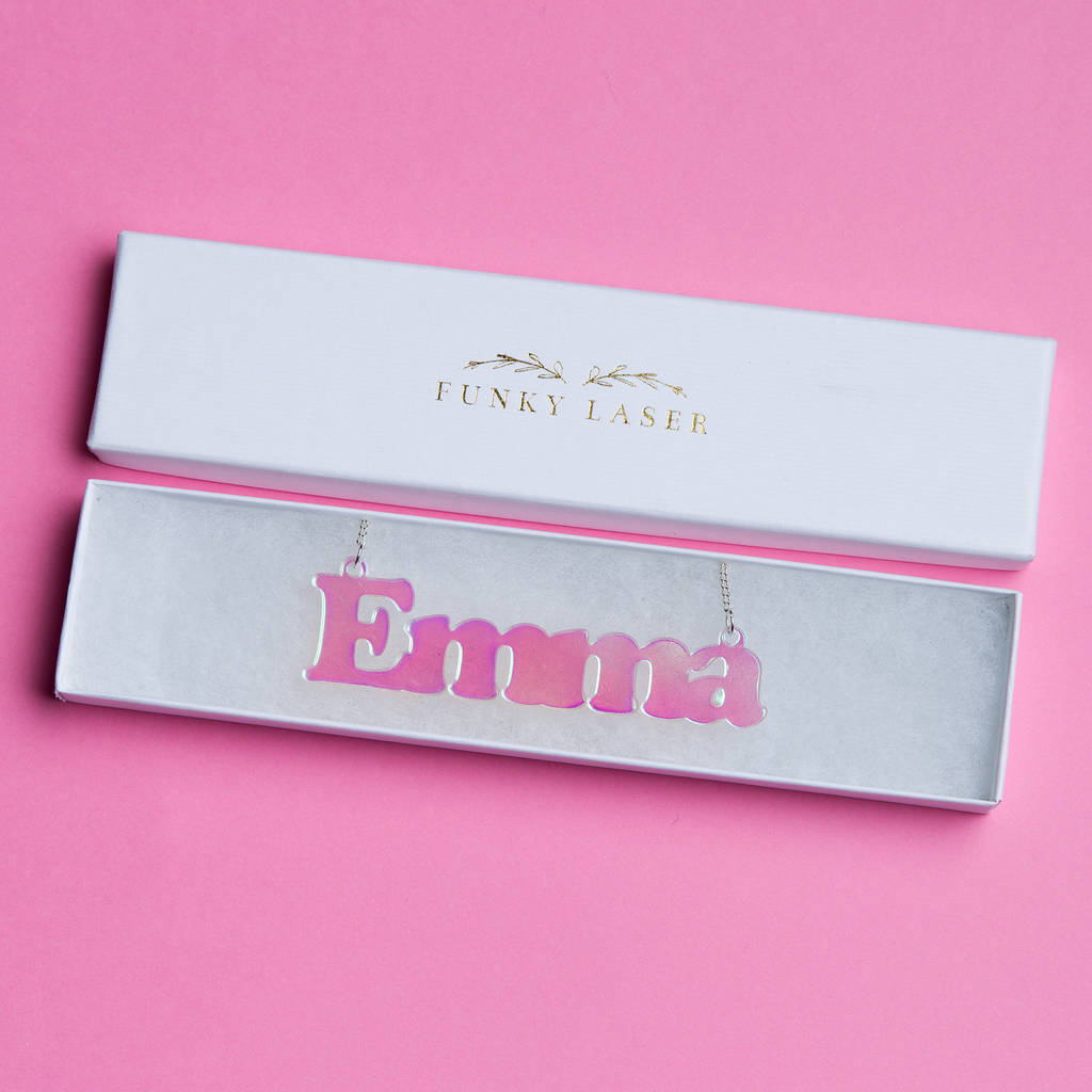Personalised Iridescent Acrylic Name Necklace - Funky Laser