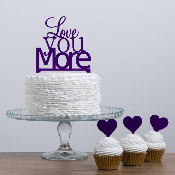Love You More Quote Wedding Cake Topper - Funky Laser