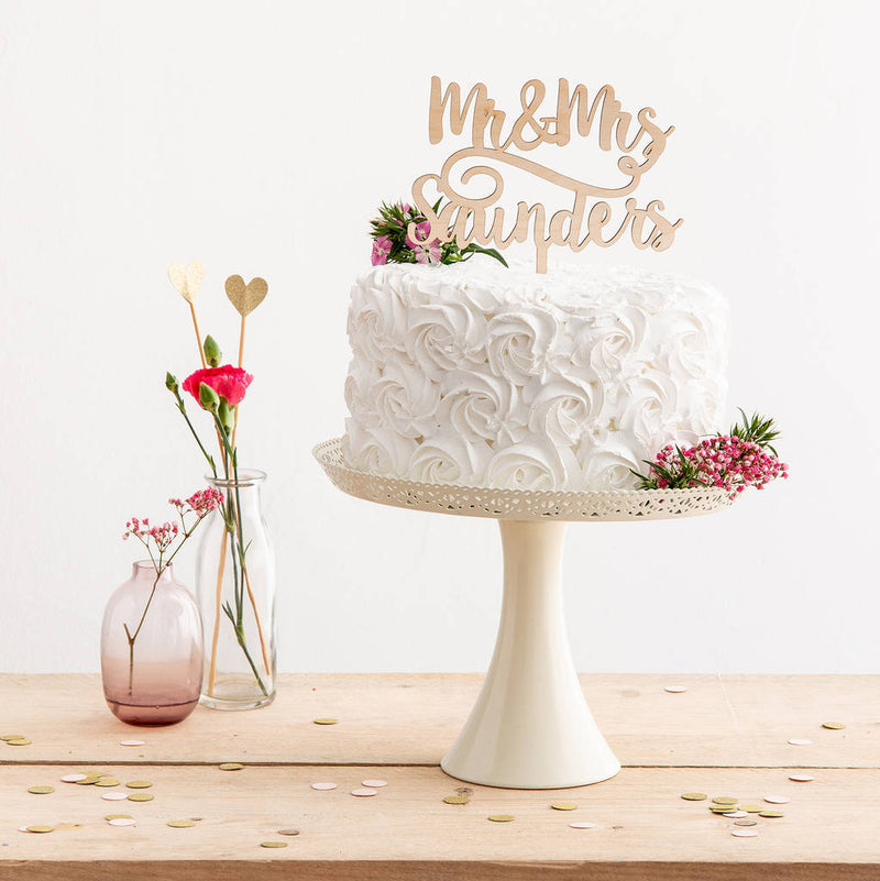 Mr And Mrs Surname Script Style Cake Topper - Funky Laser