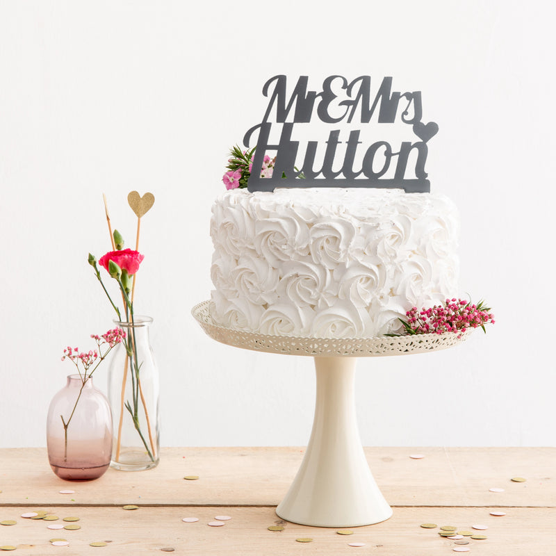 Personalised Mr And Mrs Retro Style Cake Topper - Funky Laser