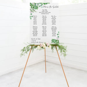 Foliage Wedding Seating Plan In White Acrylic - Funky Laser
