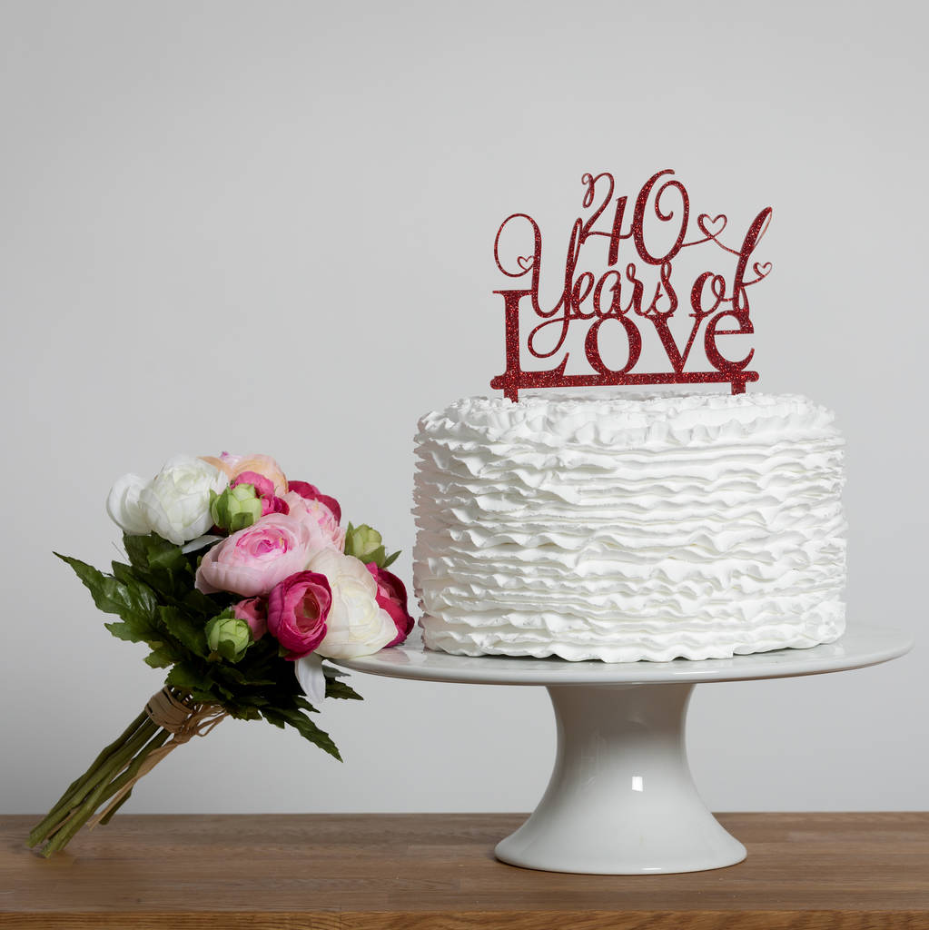 40 Years Of Love 40th Anniversary Cake Topper - Funky Laser