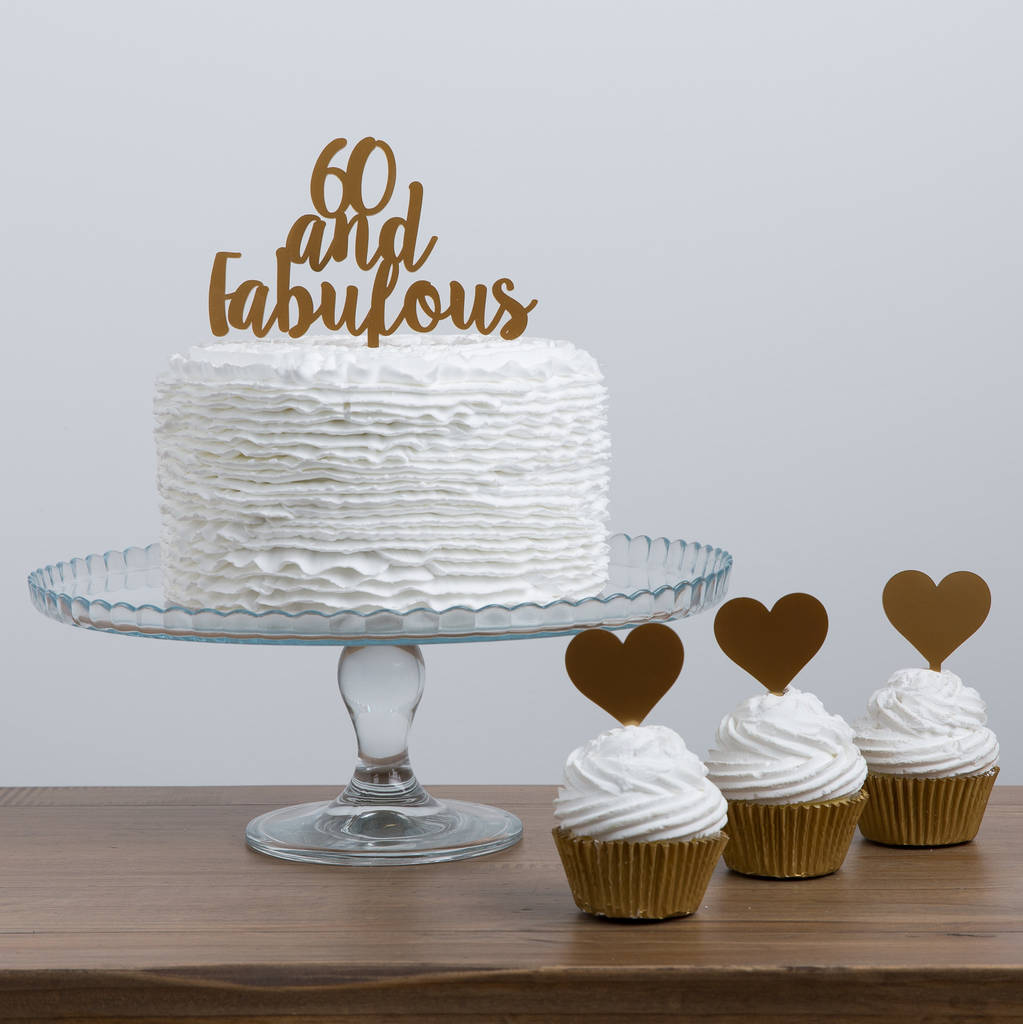 60 And Fabulous Party Cake Topper - Funky Laser