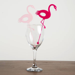 Dancing Flamingo Drink Stirrers Set Of Six - Funky Laser