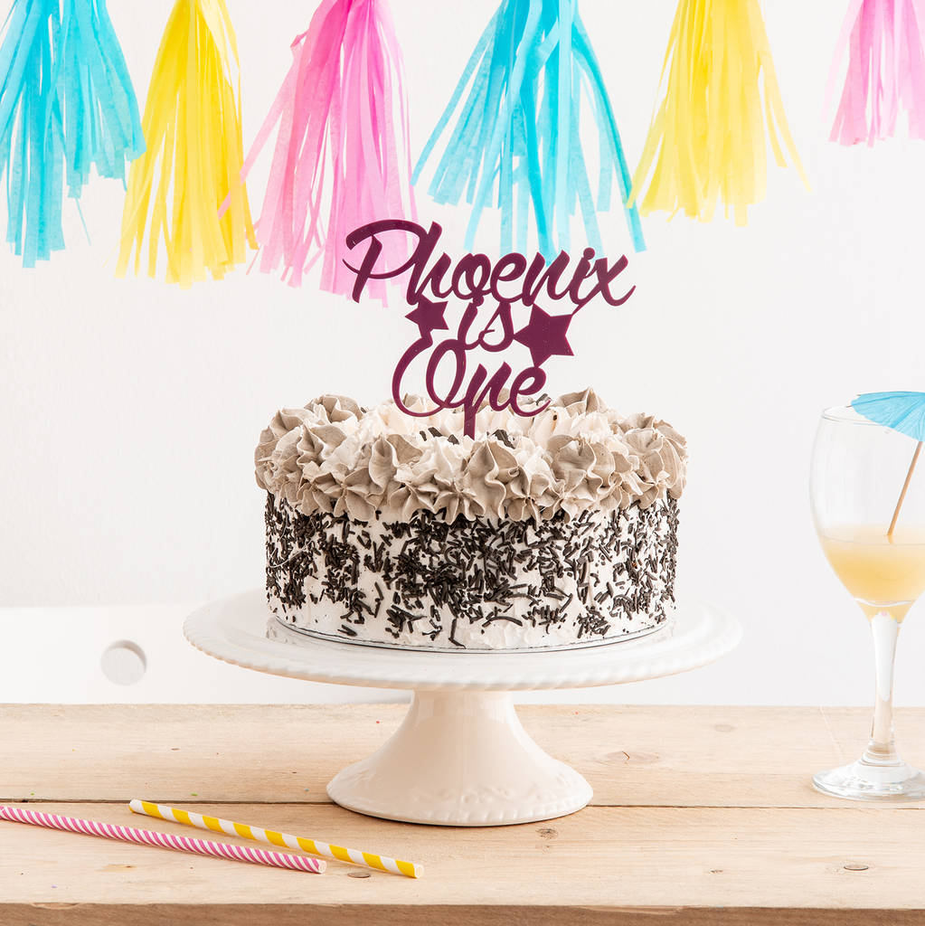Birthday Name And Age Star Cake Topper - Funky Laser