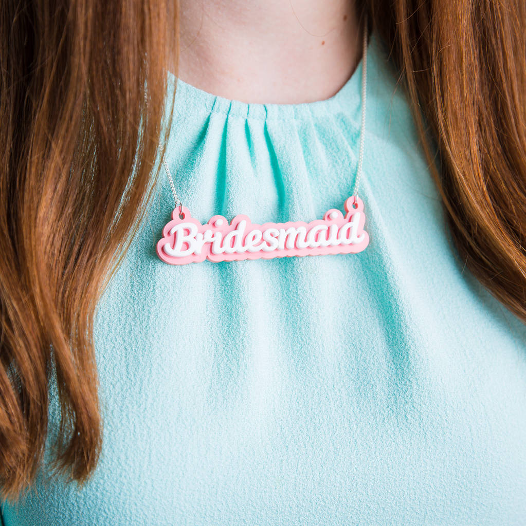 Bridesmaid Necklace - Funky Laser