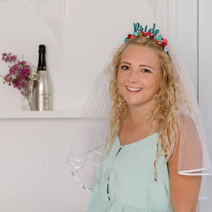 Colourful Flower Bride Headband With Detachable Veil - Funky Laser