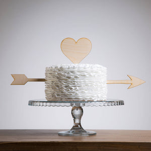 Cupid Heart And Arrow Wedding Party Cake Topper - Funky Laser