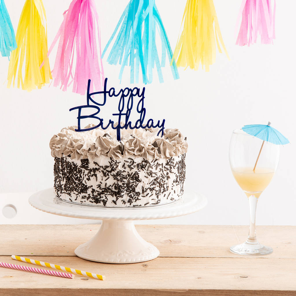 Happy Birthday Cake Topper - Funky Laser