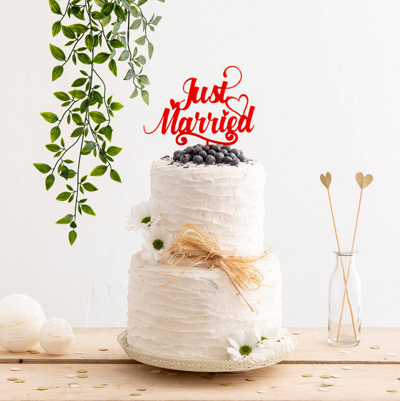 Just Married Wedding Cake Topper Decoration - Funky Laser
