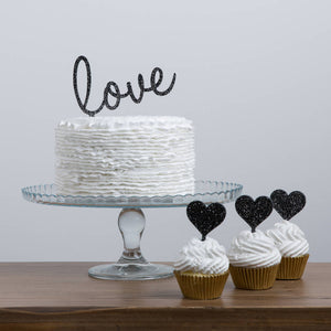 Large Slanted Love Wording Cake Topper - Funky Laser