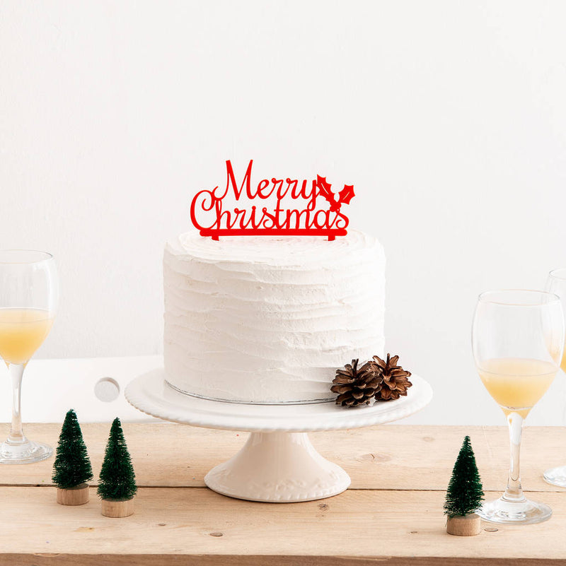 Merry Christmas Seasonal Party Cake Topper - Funky Laser