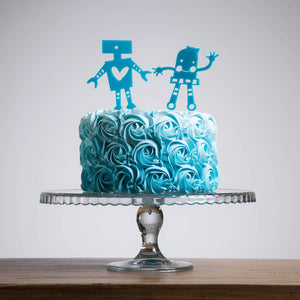 Mini Set Of Four Robot Cake Topper Decorations - Funky Laser