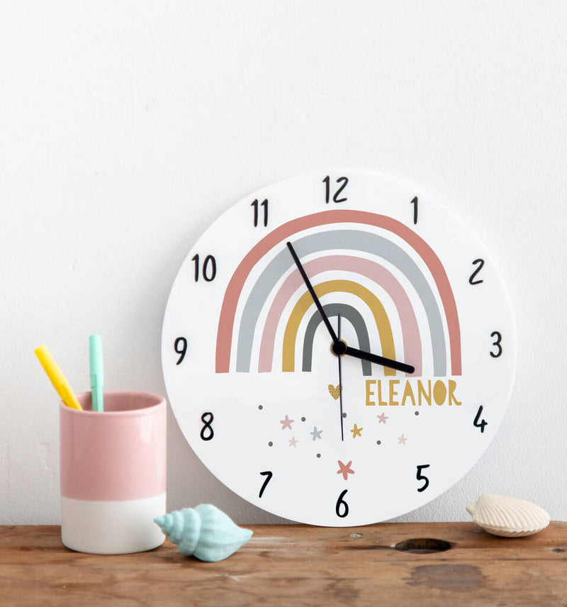 Modern Earth Rainbow Personalised Bedroom Clock - Funky Laser