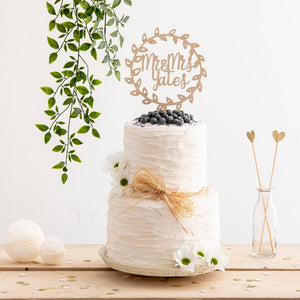 Rustic Mr And Mrs Surname Wreath Style Cake Topper - Funky Laser