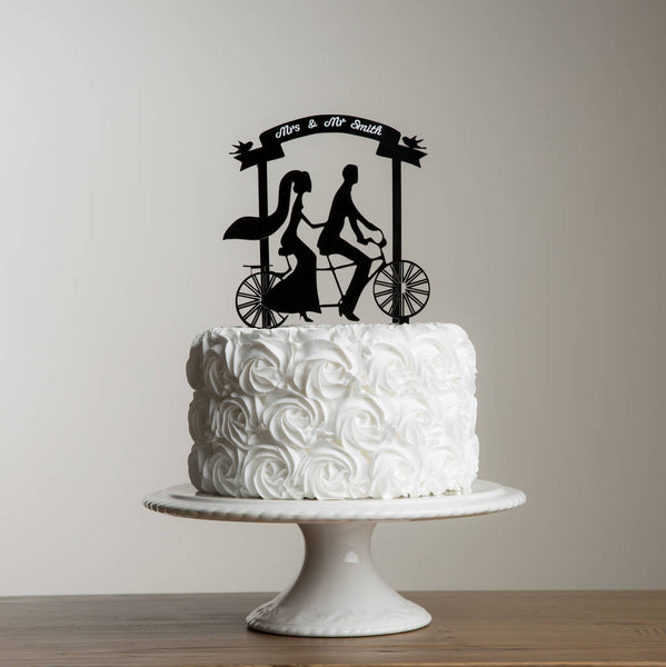 Mr And Mrs Acrylic Tandem Bike Wedding Banner Cake Topper - Funky Laser