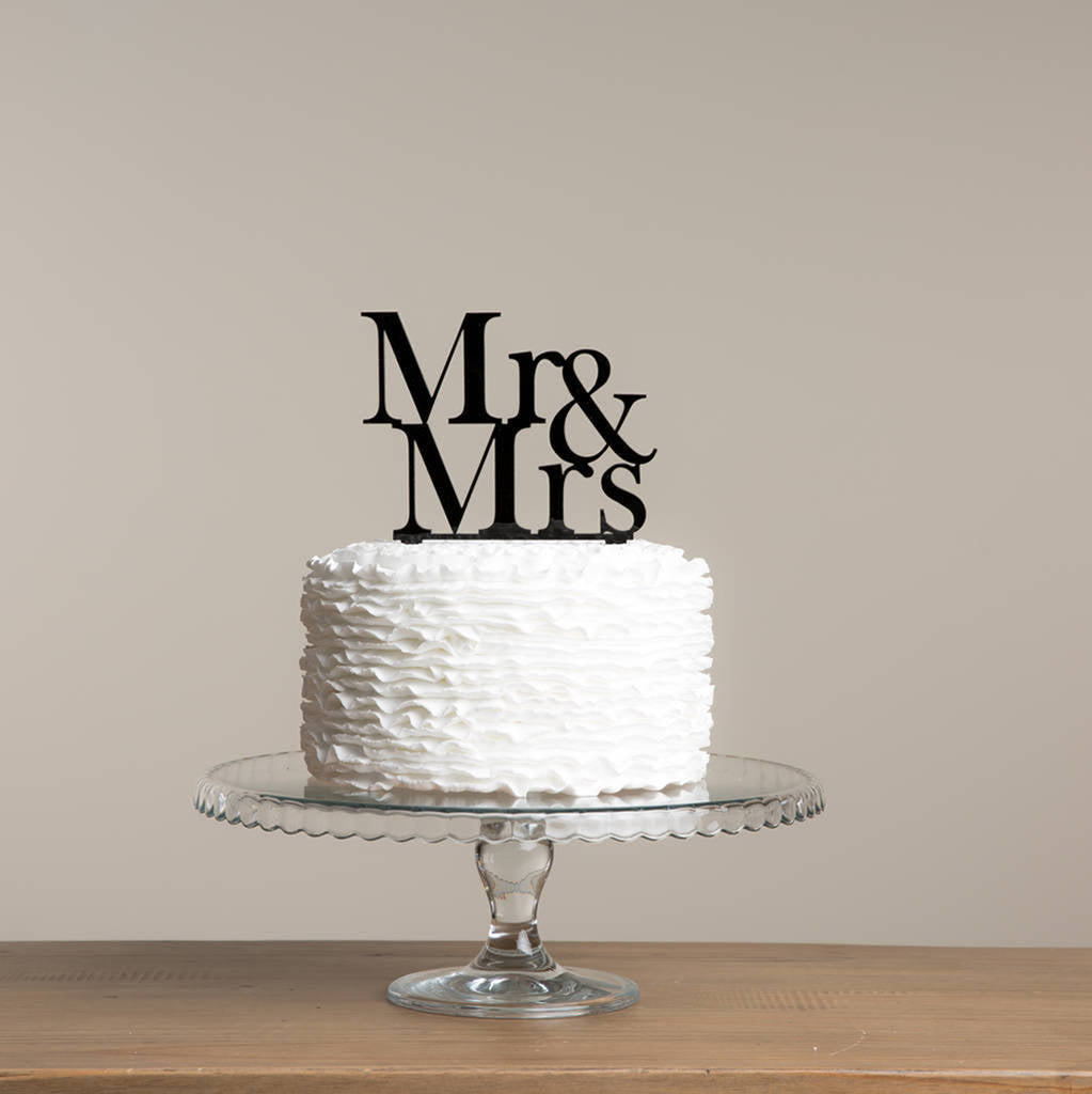 Classic Mr And Mrs Wedding Cake Topper - Funky Laser