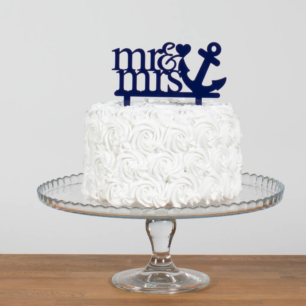 Fantastic Mr And Mrs Sailor Anchor Wedding Cake Topper Funky Laser Funny Birthday Cards Online Alyptdamsfinfo