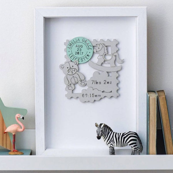 New Baby Personalised Paper Cut Framed Print - Funky Laser