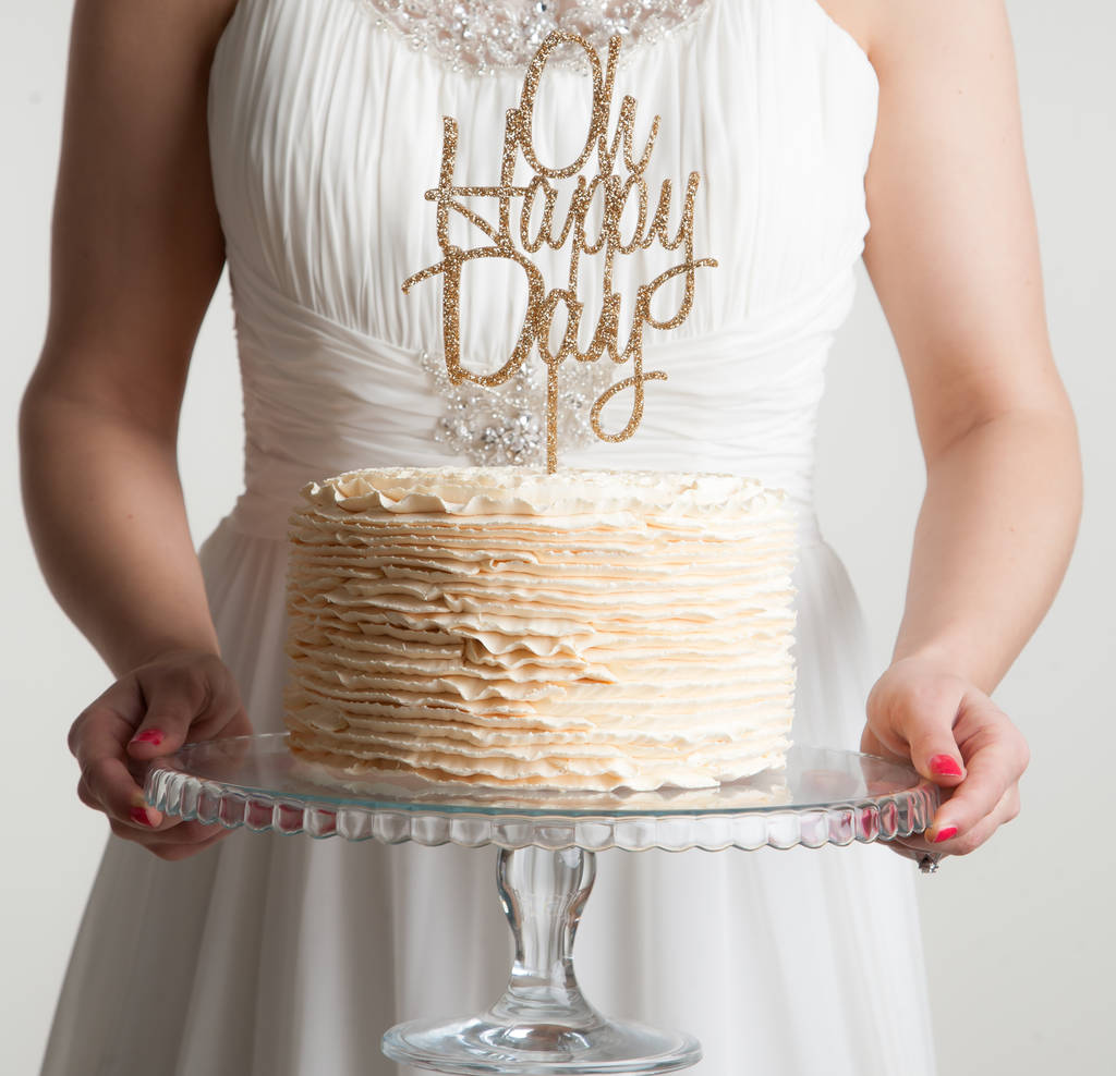 Oh Happy Day Celebrations Cake Topper - Funky Laser