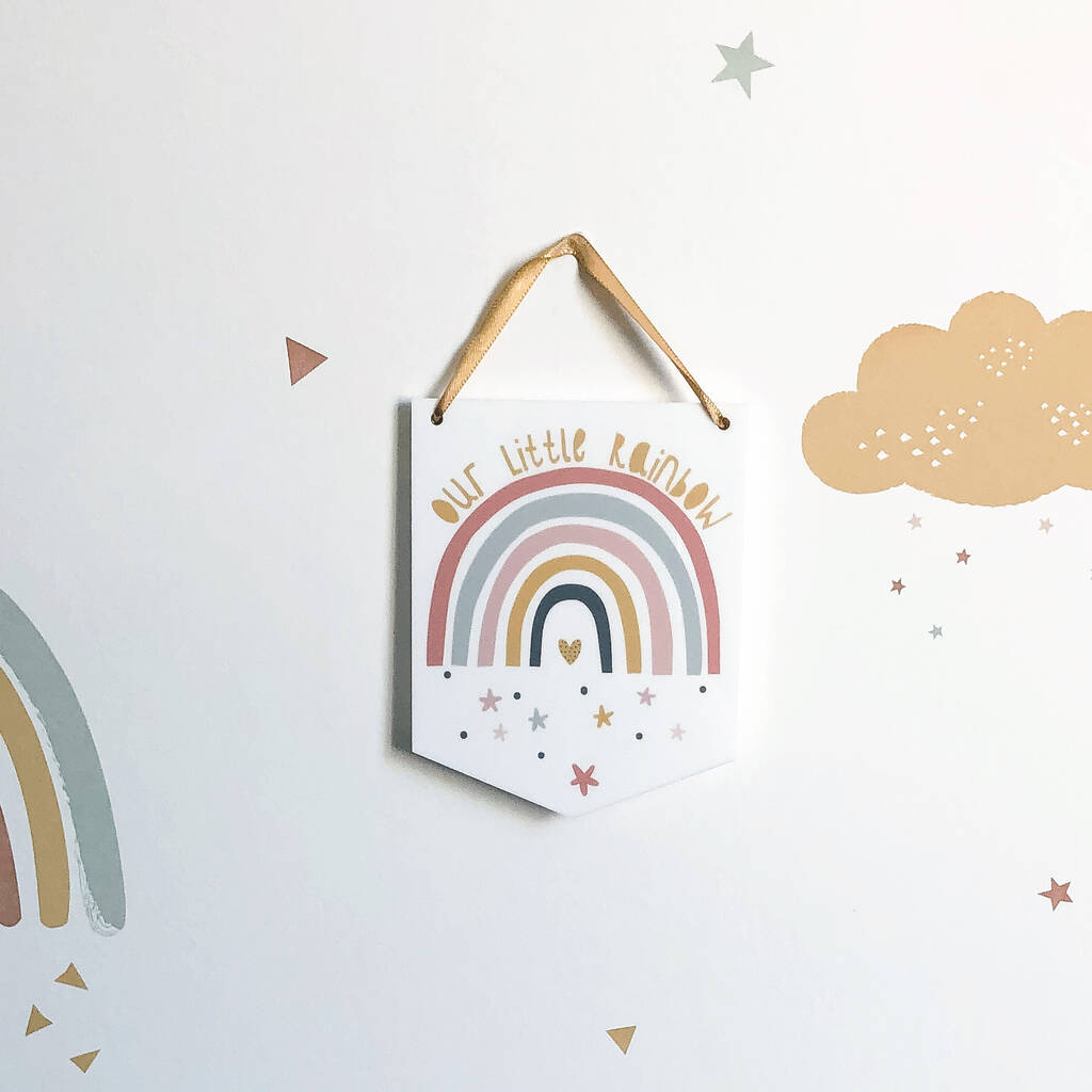 Our Little Rainbow Mini Acrylic Flag Wall Hanging - Funky Laser