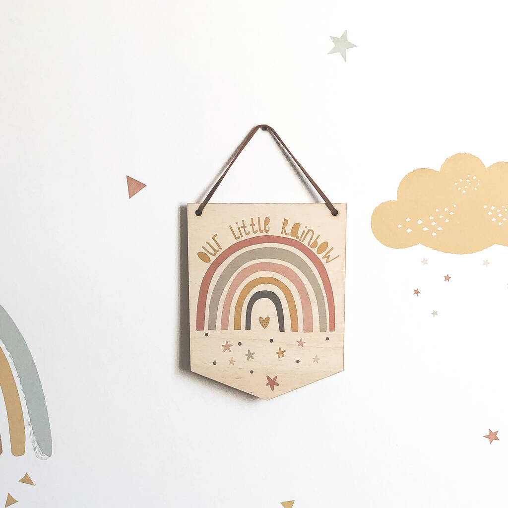 Our Little Rainbow Mini Wooden Flag Wall Hanging - Funky Laser