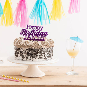 Personalised Birthday Party Cake Topper - Funky Laser