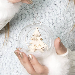 Personalised Snow Reindeer Glass Bauble - Funky Laser