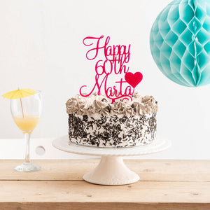 Personalised Name and Age Birthday Cake Topper With Heart Detailing - Funky Laser