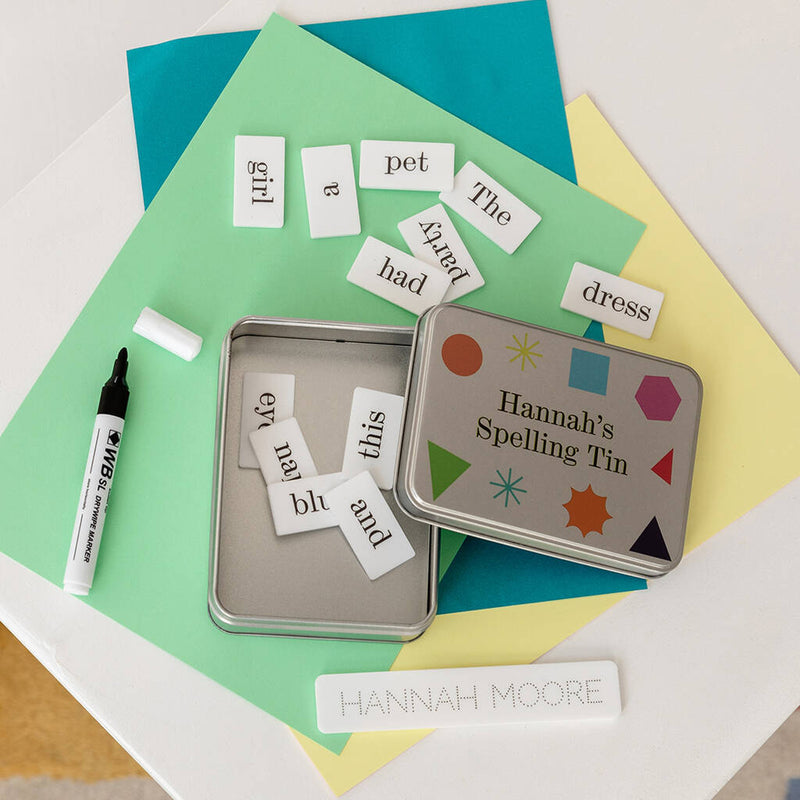 Personalised Child's Spelling Tin Learning Aid - Funky Laser