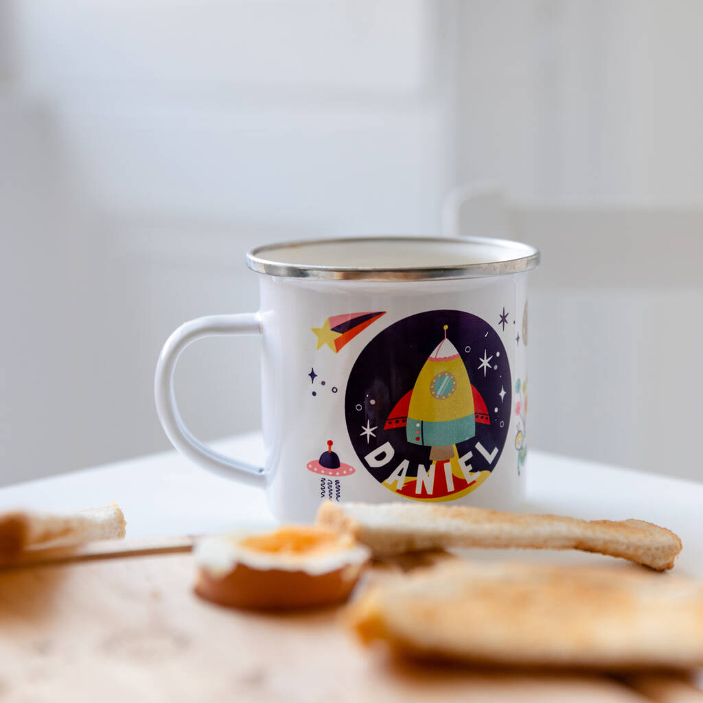 Personalised Children's Space Themed Enamel Mug - Funky Laser