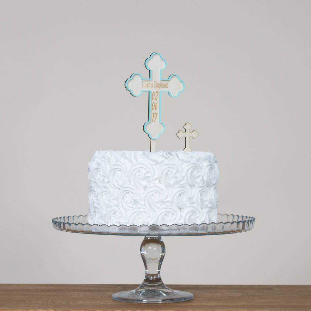 Personalised Christening Cross With Name And Date - Funky Laser