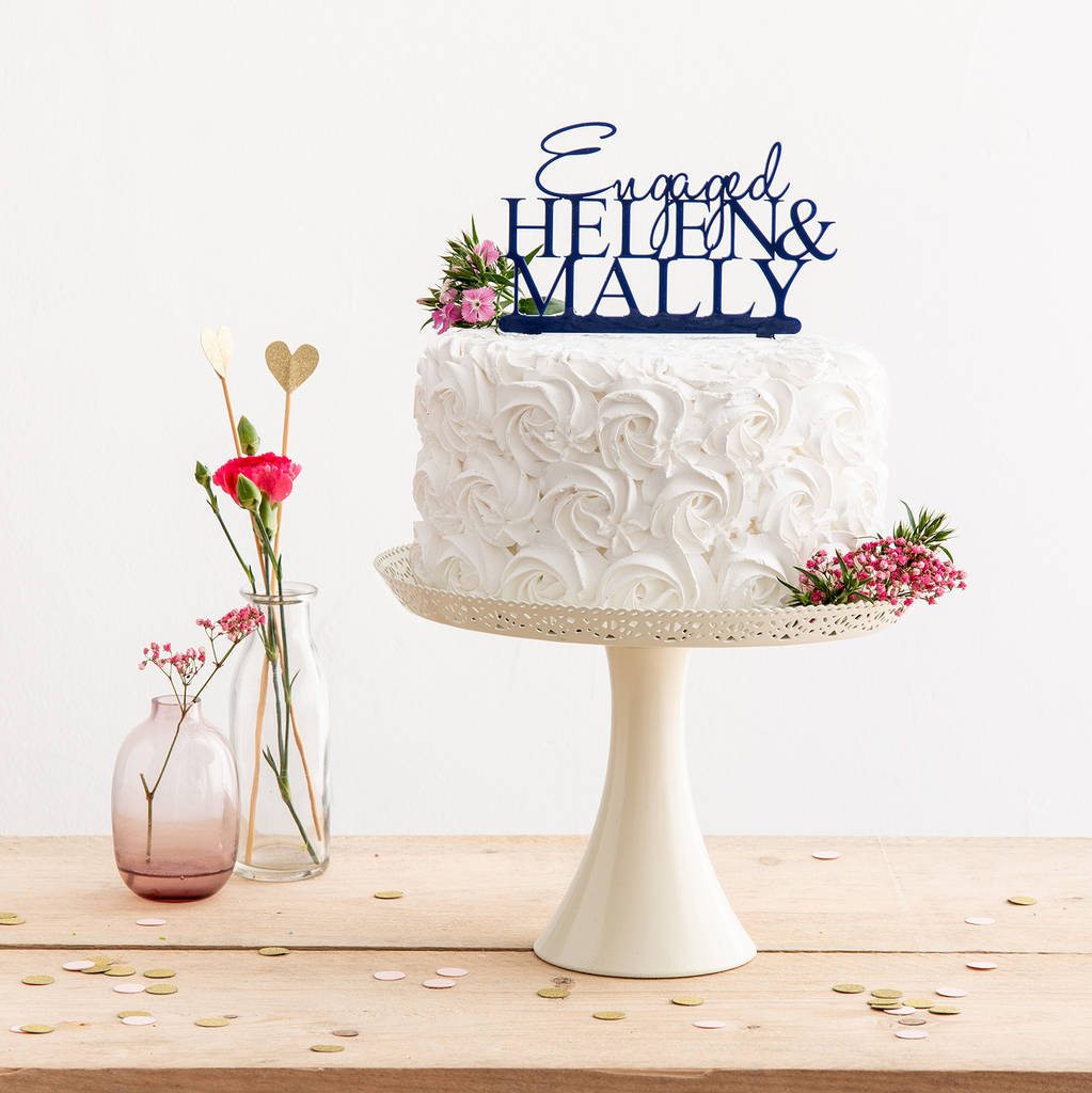 Personalised Engaged Name Cake Topper - Funky Laser