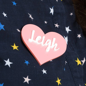 Personalised Name Heart Brooch - Funky Laser