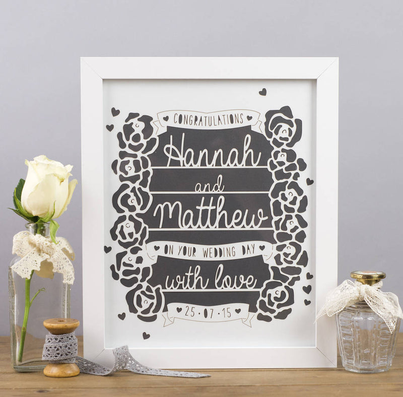 Personalised Congratulations Wedding Gift Framed Print - Funky Laser