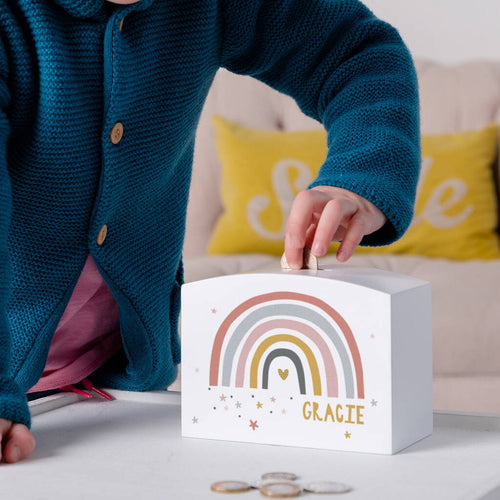 White Wooden Personalised Modern Earth Rainbow Money Pot Piggy Bank - Funky Laser
