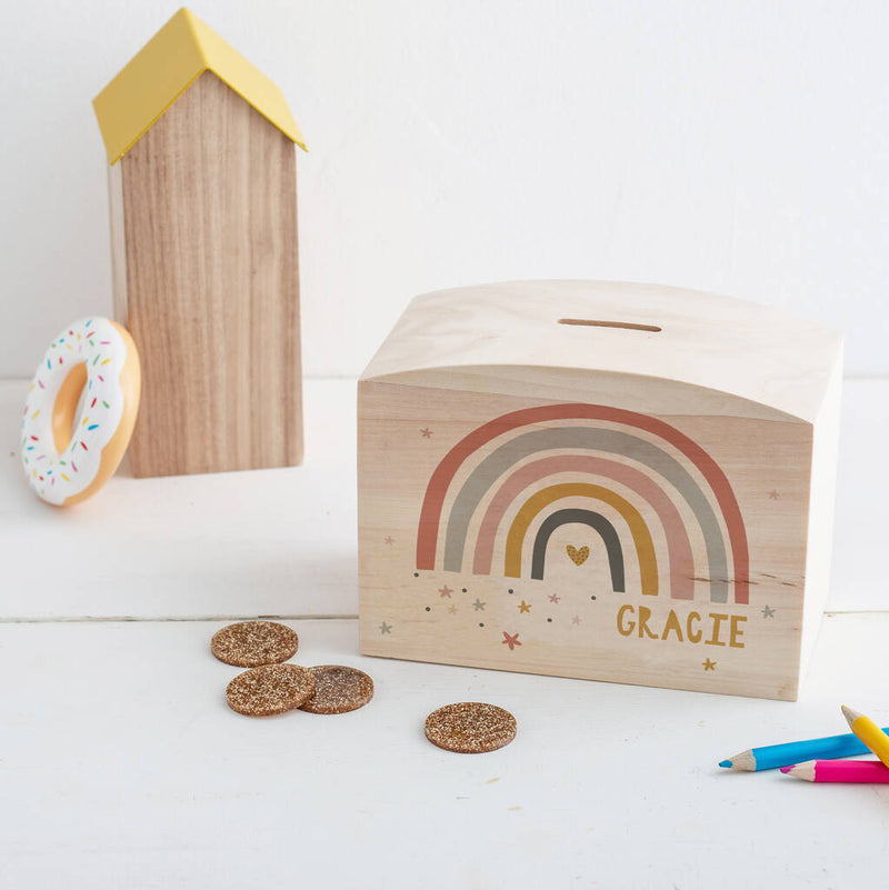 Wooden Personalised Modern Earth Rainbow Money Pot Piggy Bank - Funky Laser