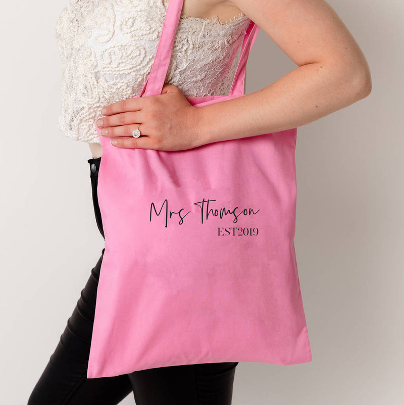 Personalised Mrs Est Tote Bag - Funky Laser