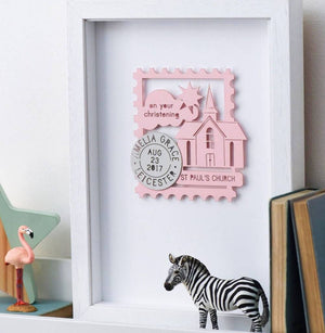 Personalised Paper Cut Christening Nursery Framed Print - Funky Laser