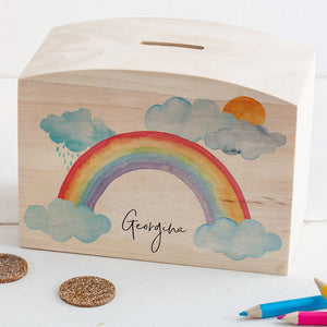 Personalised Wooden Rainbow And Clouds Money Pot Piggy Bank - Funky Laser